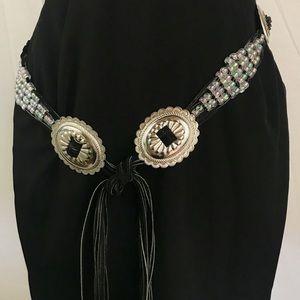 Black Leather and Iridescent Beaded Tie Belt EUC